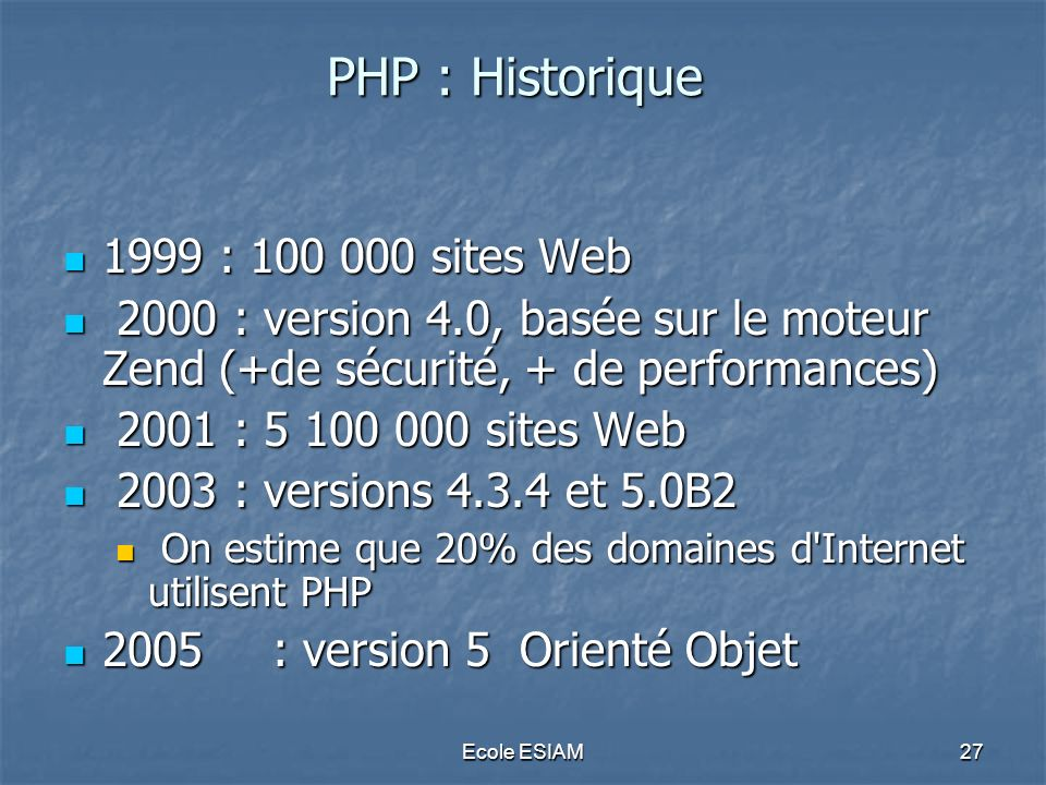PHP : Historique 1999 : 100 000 sites Web