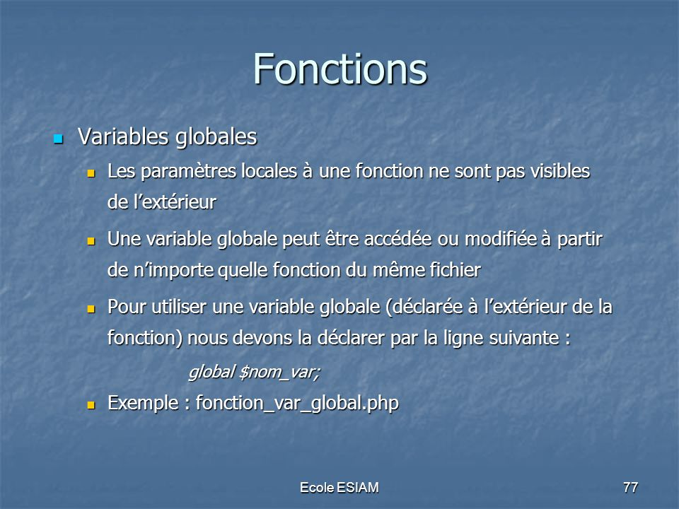 Fonctions Variables globales