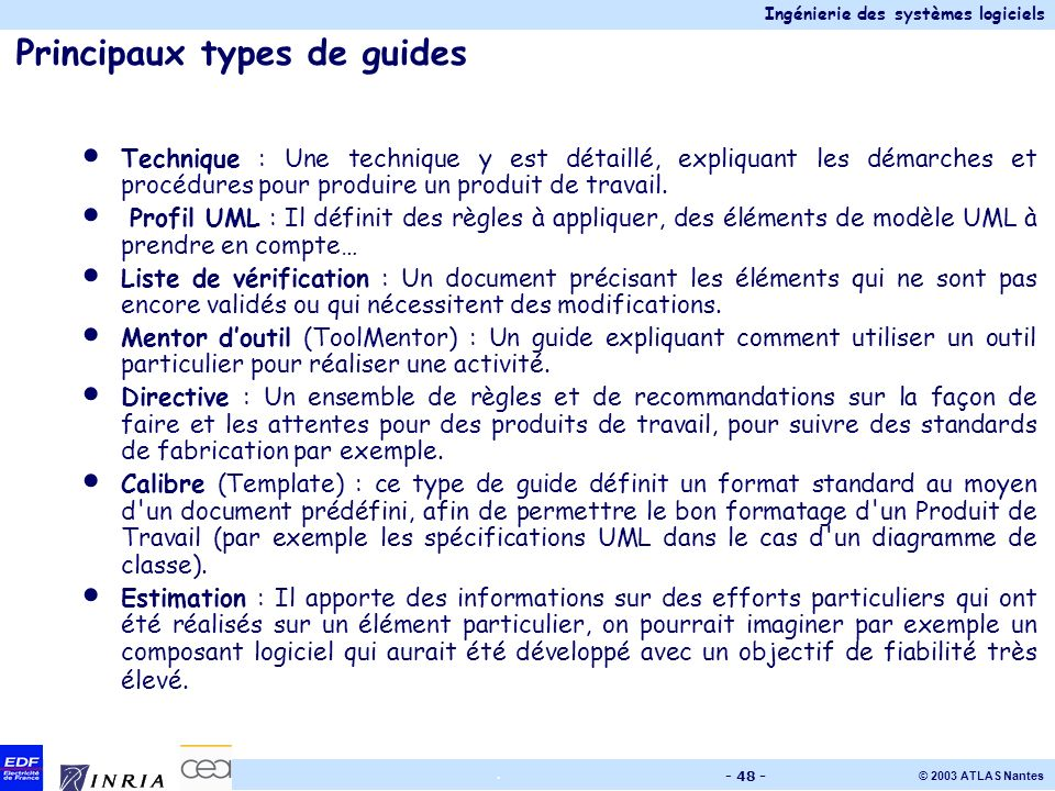 Principaux types de guides
