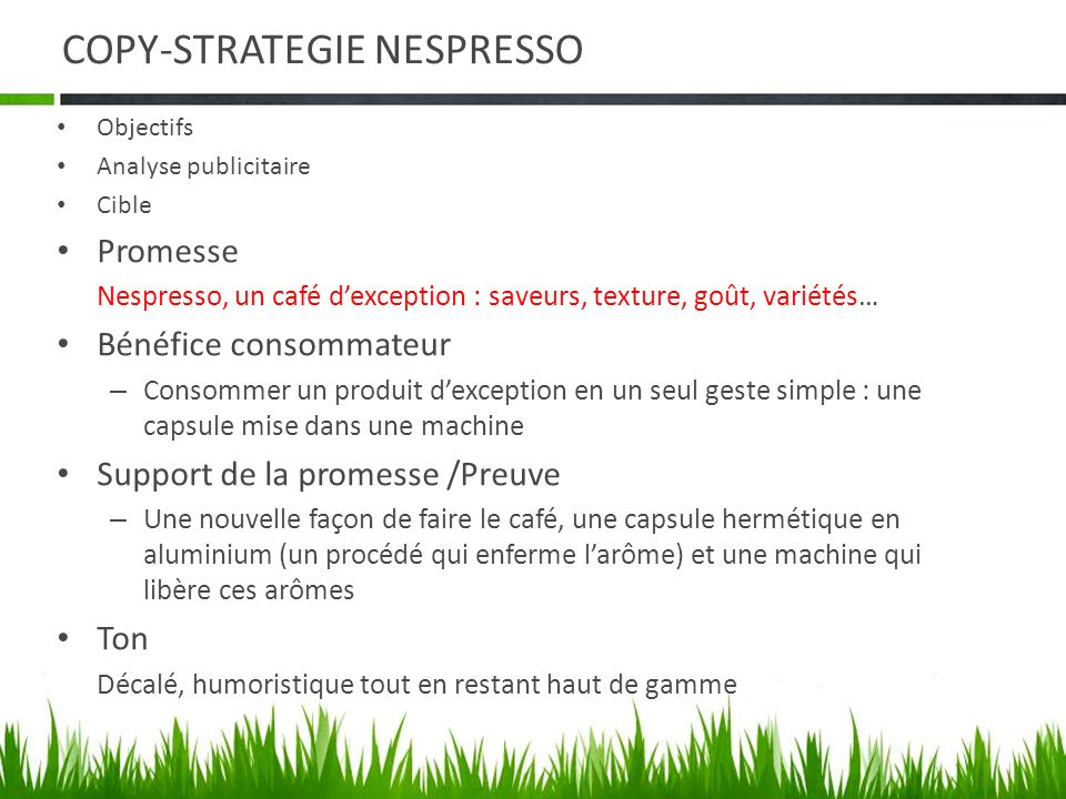 COPY-STRATEGIE NESPRESSO