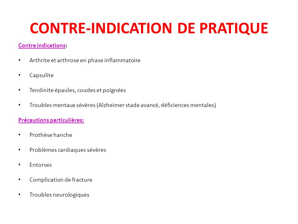 CONTRE-INDICATION DE PRATIQUE