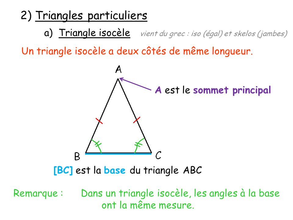 2) Triangles particuliers