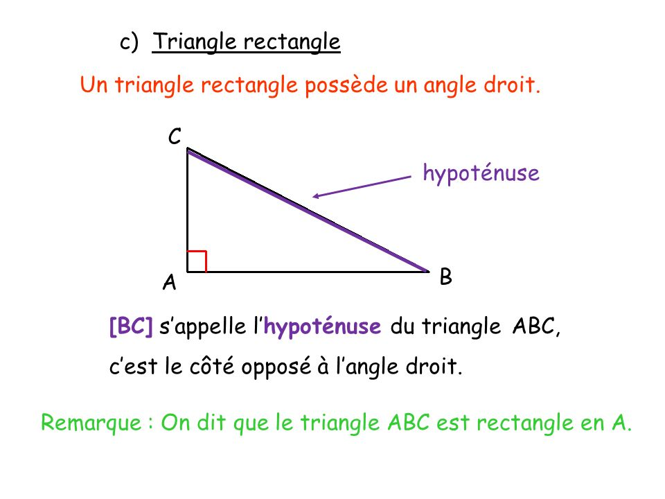 Remarque : On dit que le triangle ABC est rectangle en A.