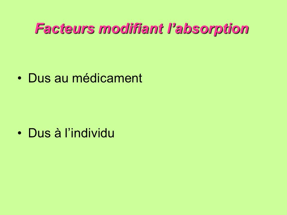 Facteurs modifiant l'absorption