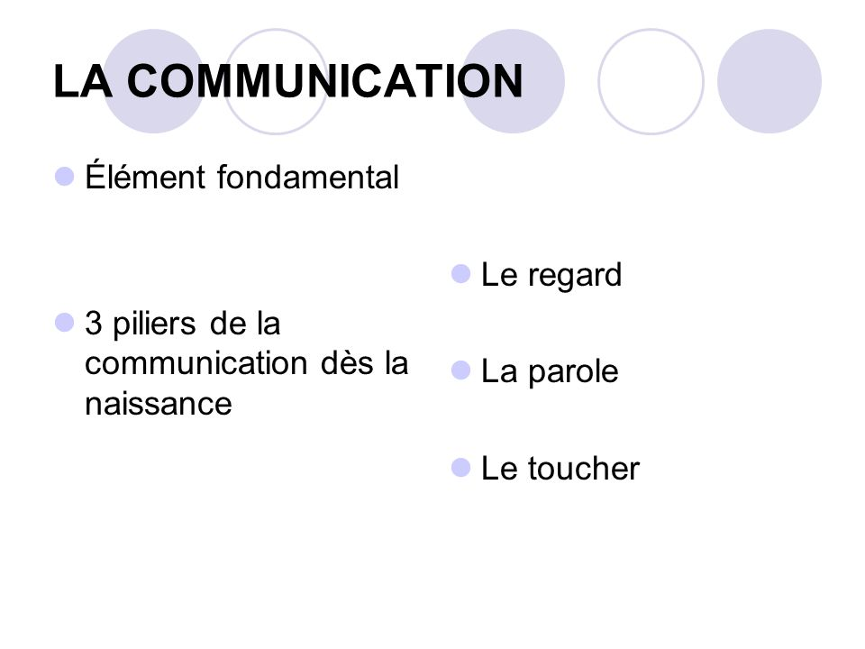 LA COMMUNICATION Élément fondamental Le regard