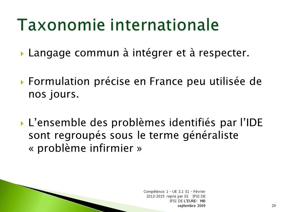 Taxonomie internationale