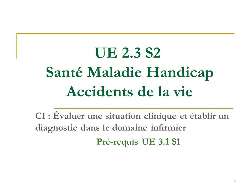 UE 2.3 S2 Santé Maladie Handicap Accidents de la vie