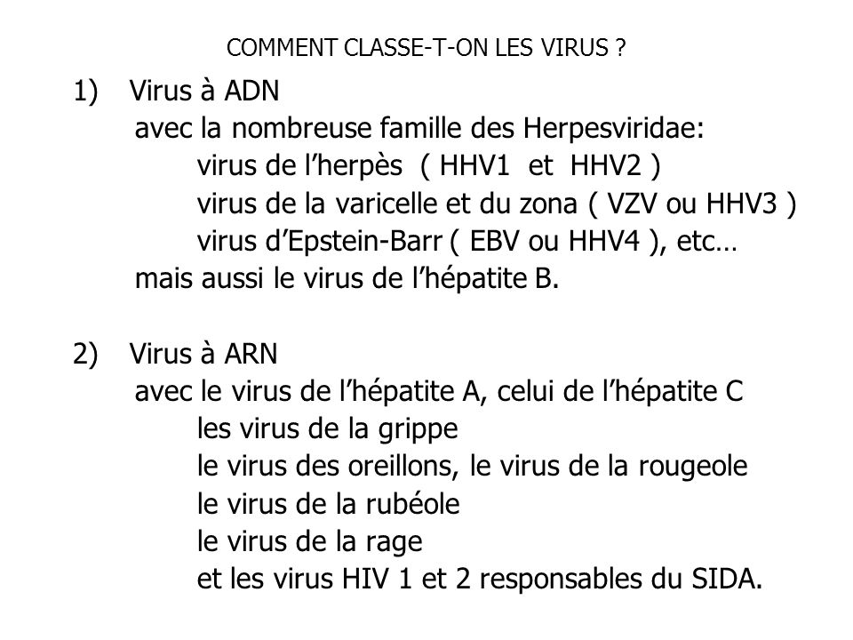 COMMENT CLASSE-T-ON LES VIRUS