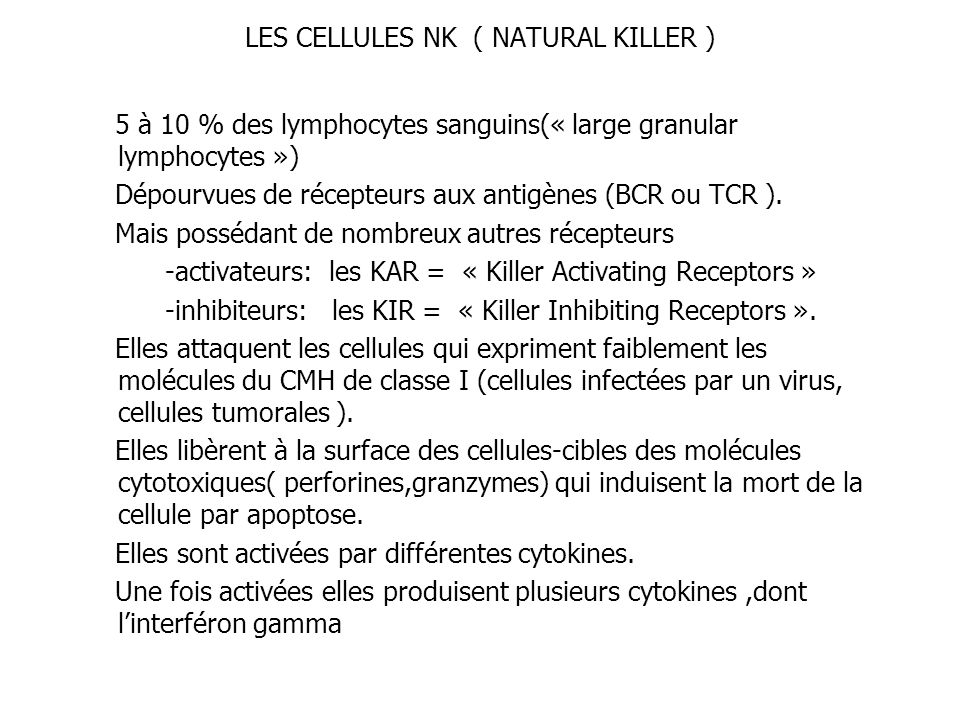 LES CELLULES NK ( NATURAL KILLER )