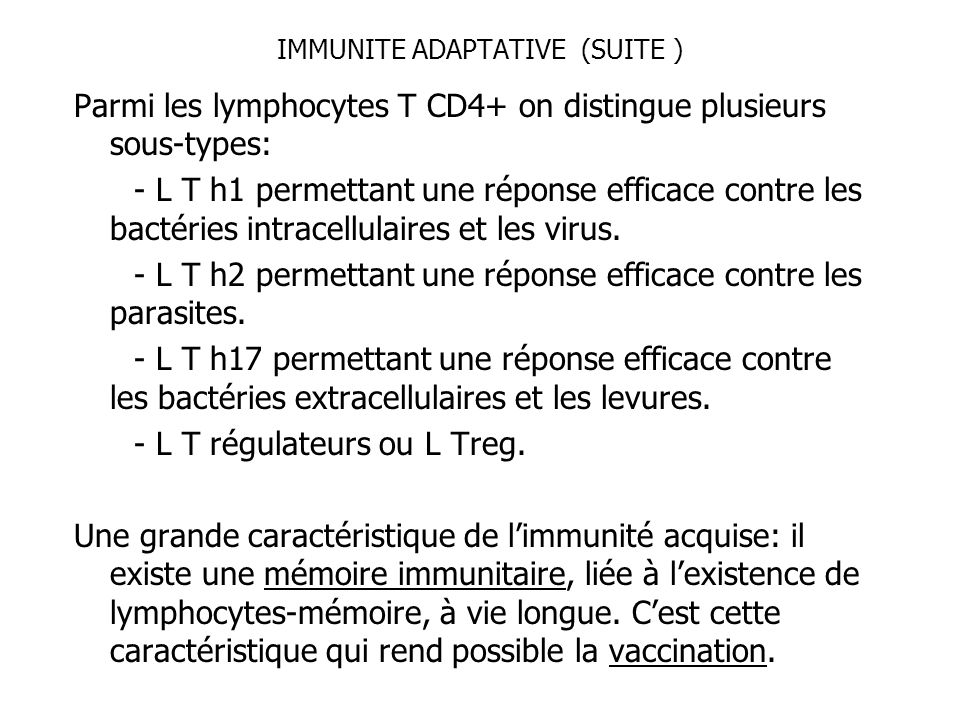 IMMUNITE ADAPTATIVE (SUITE )