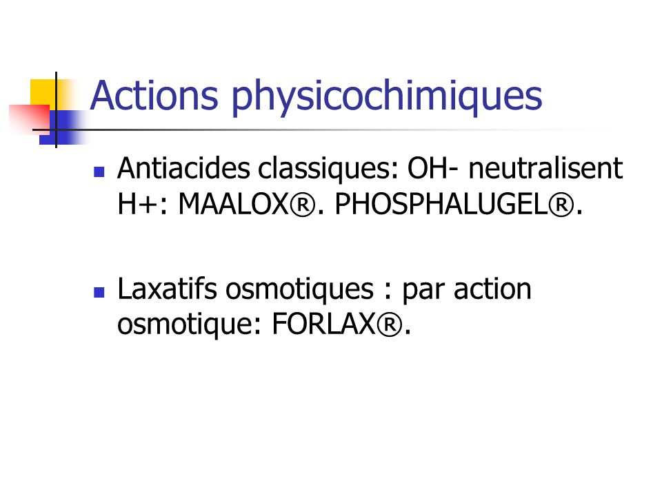 Actions physicochimiques