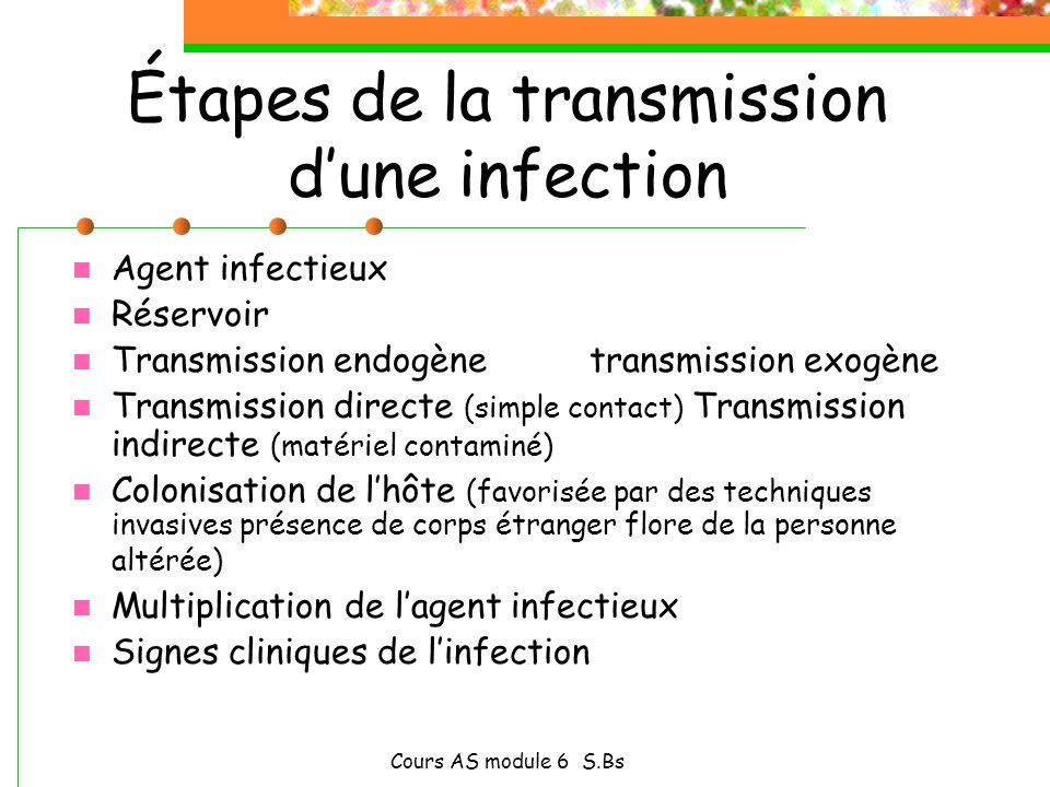 Étapes de la transmission d'une infection