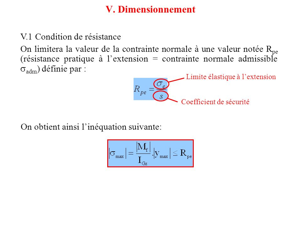 V. Dimensionnement V.1 Condition de résistance