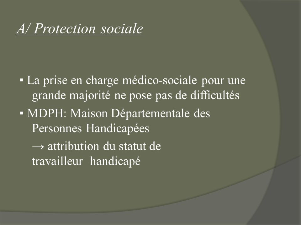 A/ Protection sociale