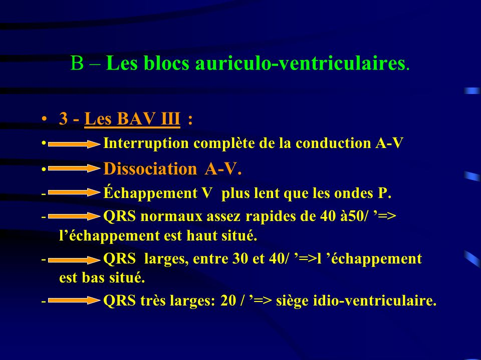 B – Les blocs auriculo-ventriculaires.