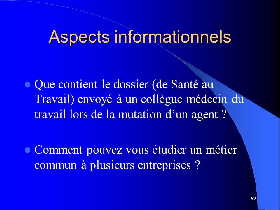 Aspects informationnels