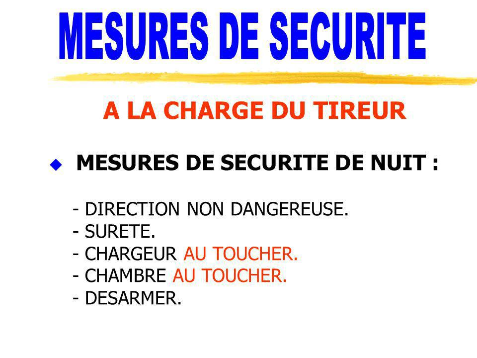 MESURES DE SECURITE A LA CHARGE DU TIREUR