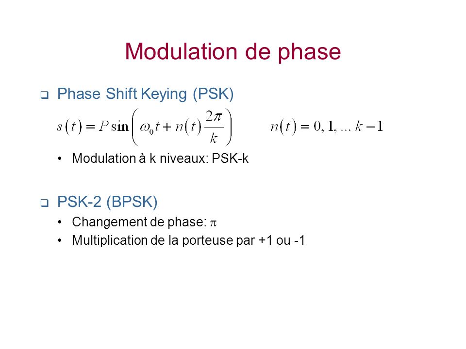 Modulation de phase Phase Shift Keying (PSK) PSK-2 (BPSK)