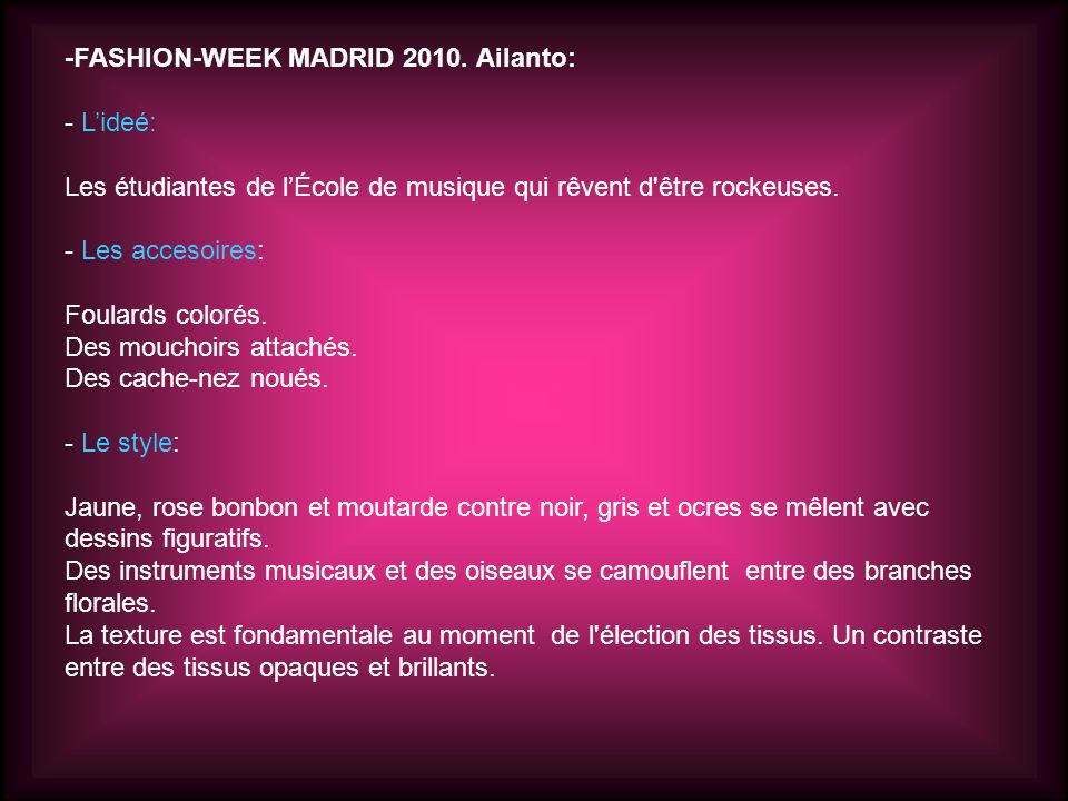 -FASHION-WEEK MADRID 2010. Ailanto: