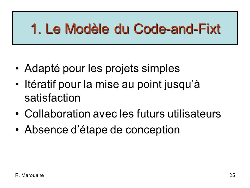1. Le Modèle du Code-and-Fixt