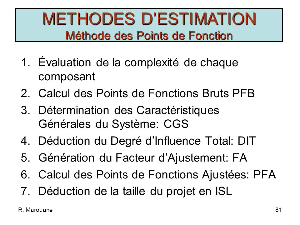 METHODES D'ESTIMATION Méthode des Points de Fonction
