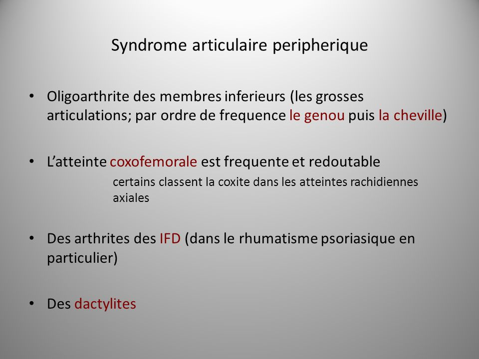 Syndrome articulaire peripherique