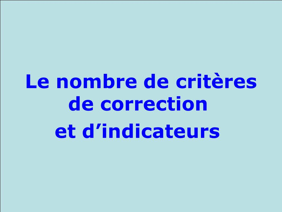 Le nombre de critères de correction et d'indicateurs