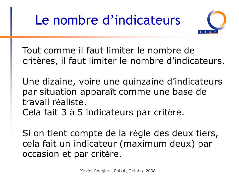 Le nombre d'indicateurs