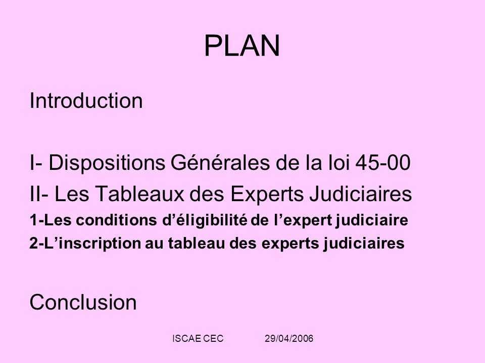 PLAN Introduction I- Dispositions Générales de la loi 45-00