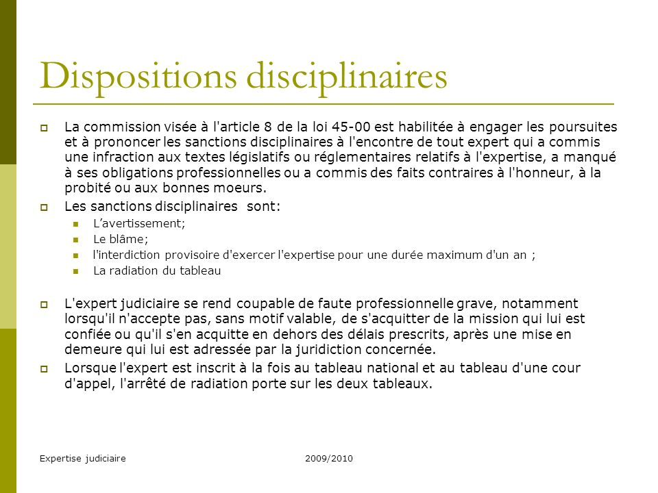 Dispositions disciplinaires