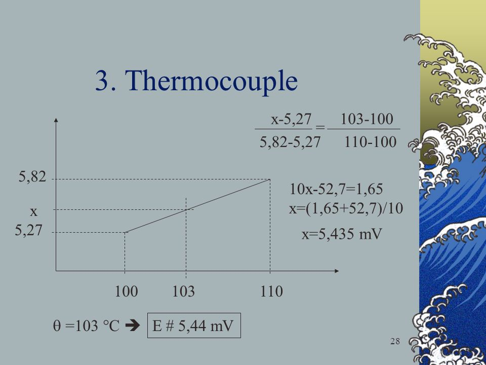 3. Thermocouple x-5, = 5,82-5, ,82 10x-52,7=1,65