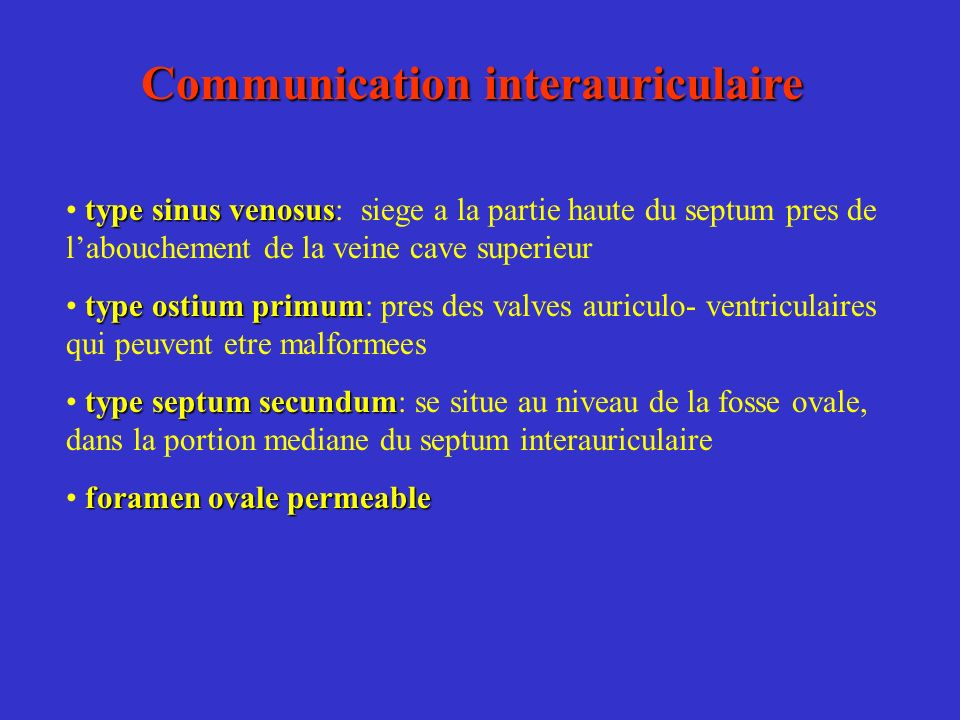 Communication interauriculaire