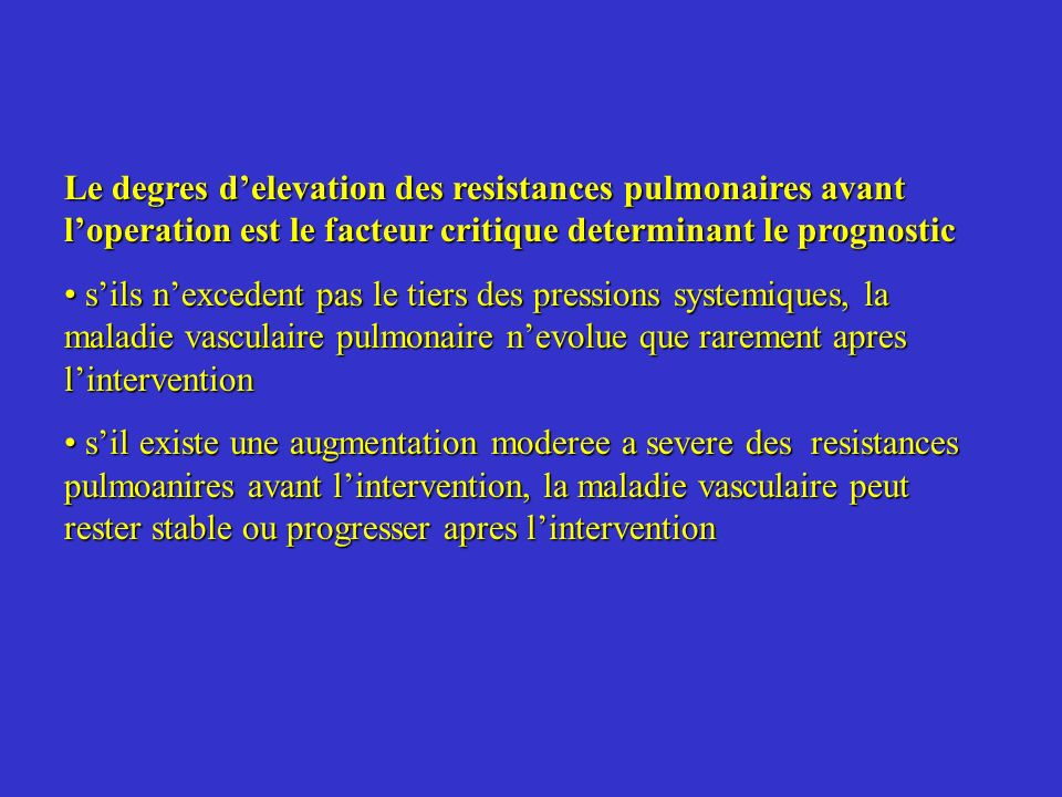 Le degres d'elevation des resistances pulmonaires avant l'operation est le facteur critique determinant le prognostic