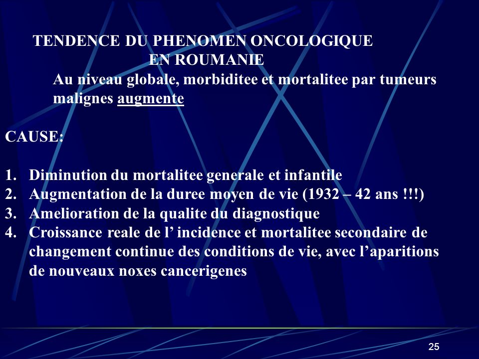 TENDENCE DU PHENOMEN ONCOLOGIQUE