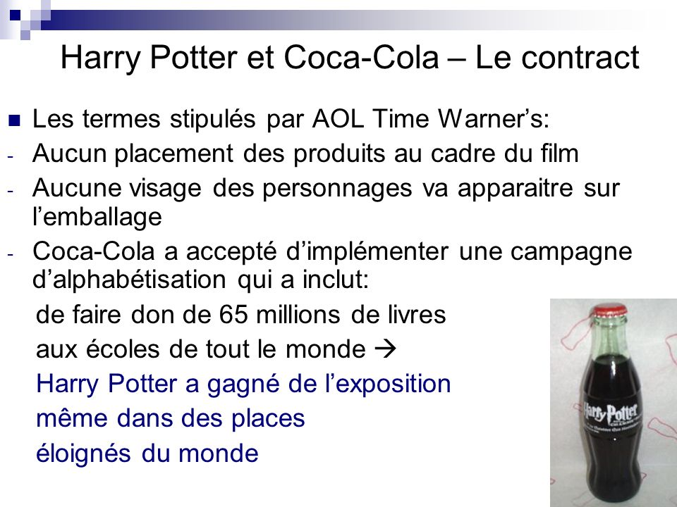 Harry Potter et Coca-Cola – Le contract