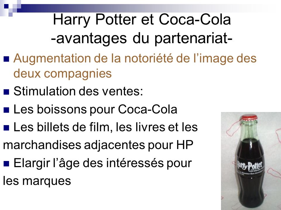 Harry Potter et Coca-Cola -avantages du partenariat-