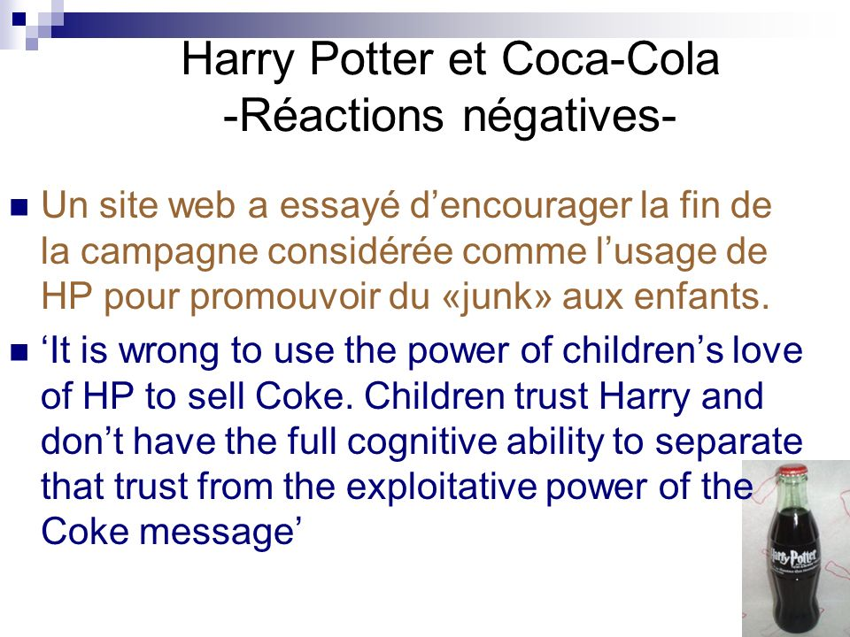Harry Potter et Coca-Cola -Réactions négatives-