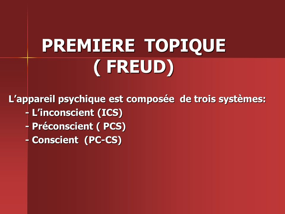 PREMIERE TOPIQUE ( FREUD)