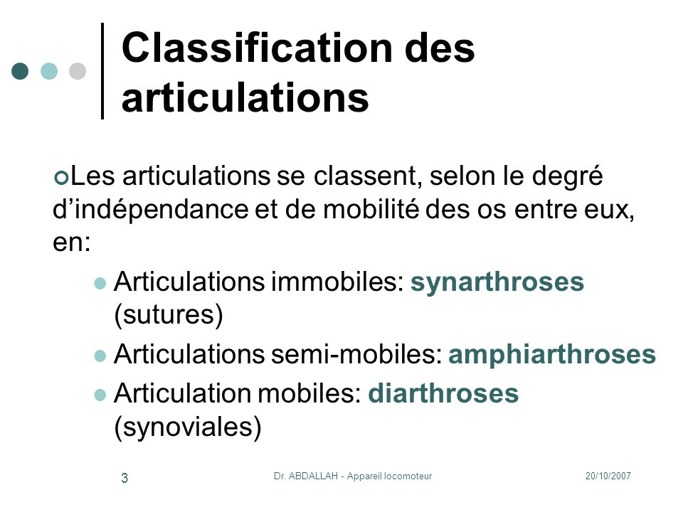 Classification des articulations