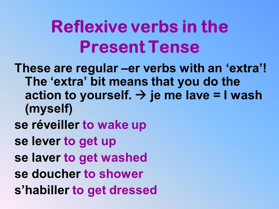 Reflexive verbs in the Present Tense