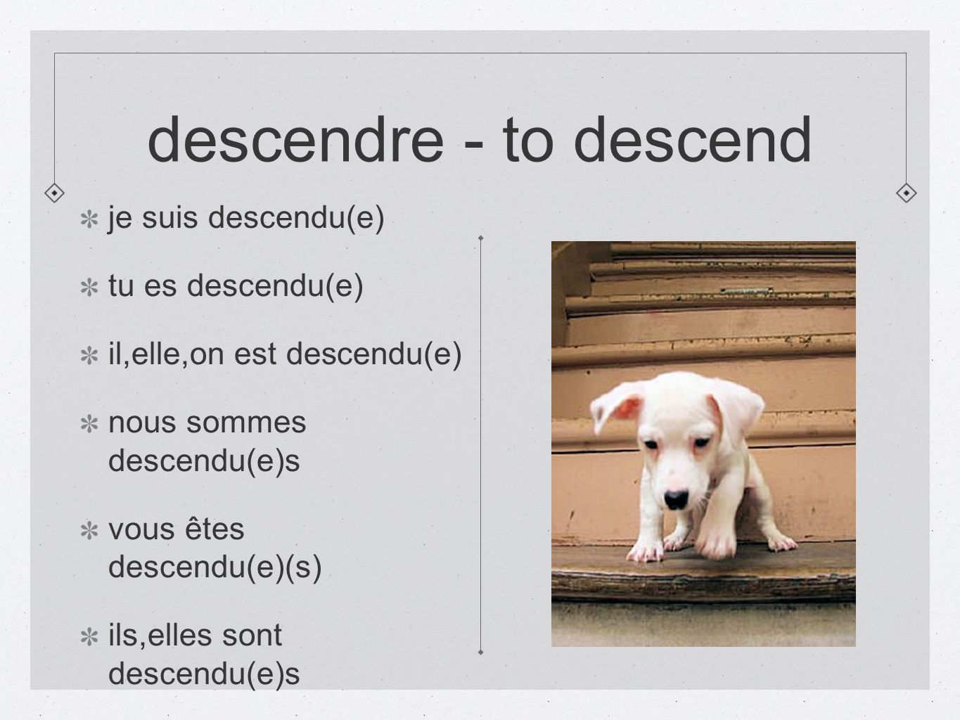 descendre - to descend je suis descendu(e) tu es descendu(e)