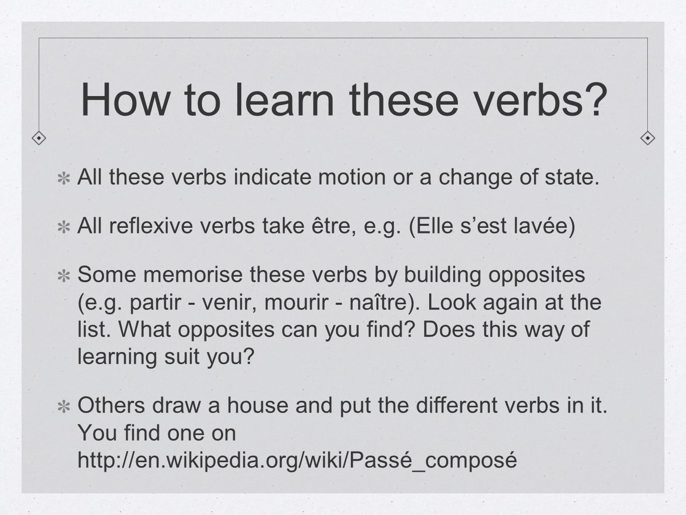 How to learn these verbs