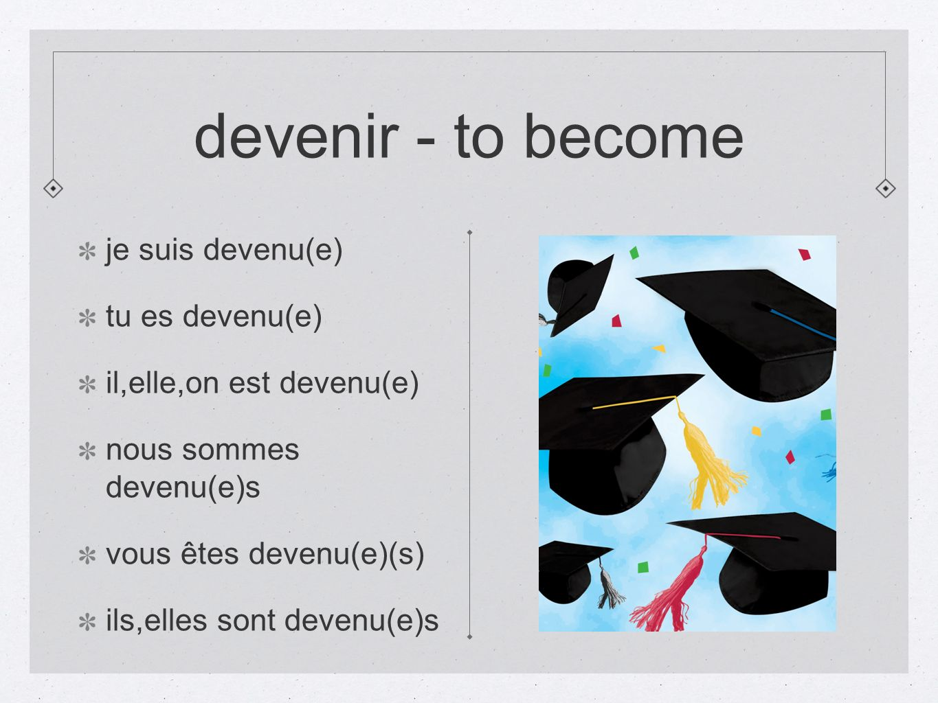 devenir - to become je suis devenu(e) tu es devenu(e)