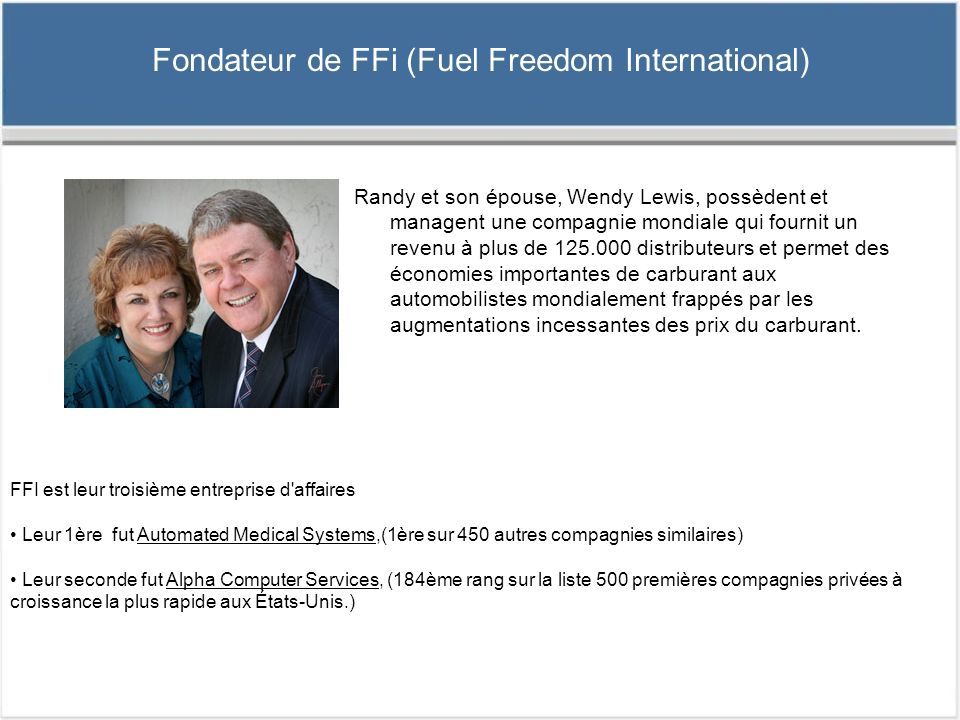 Fondateur de FFi (Fuel Freedom International)