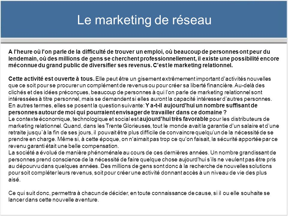 Le marketing de réseau