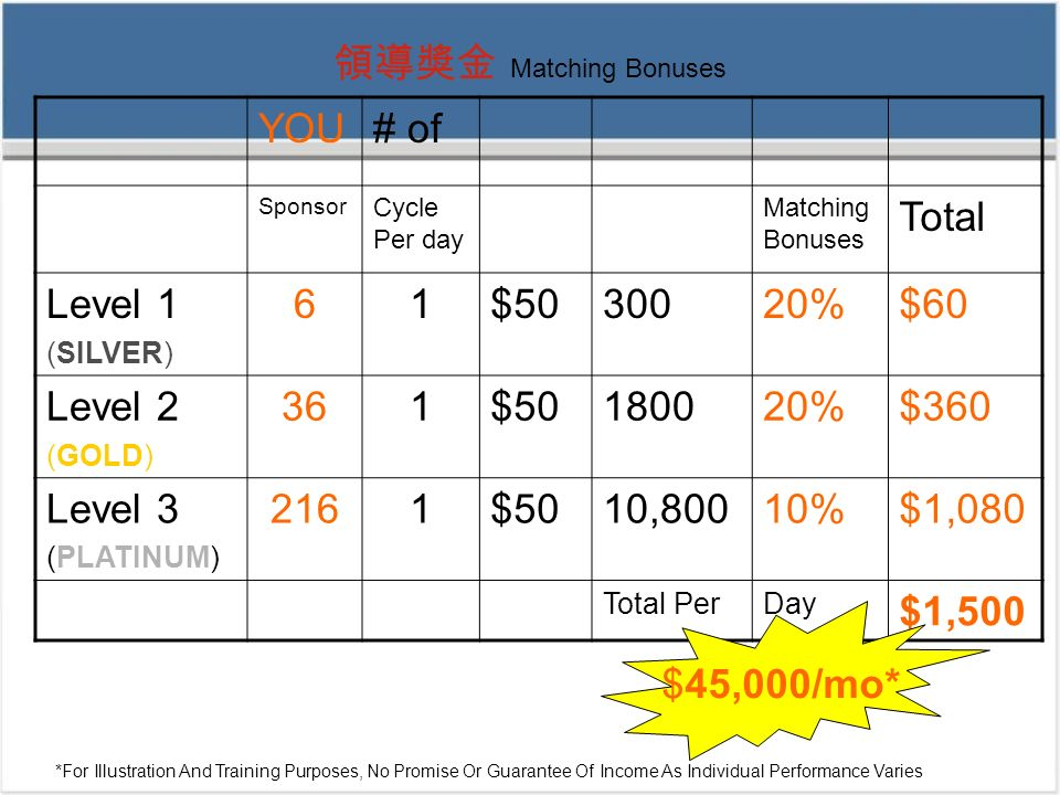 領導獎金 Matching Bonuses YOU # of Total Level 1 6 1 $50 300 20% $60