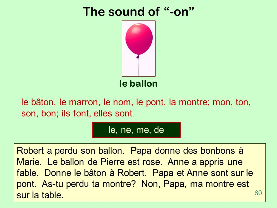 The sound of -on le ballon