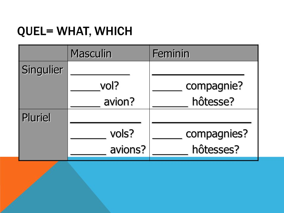 Quel= what, which Masculin Feminin Singulier __________ _____vol