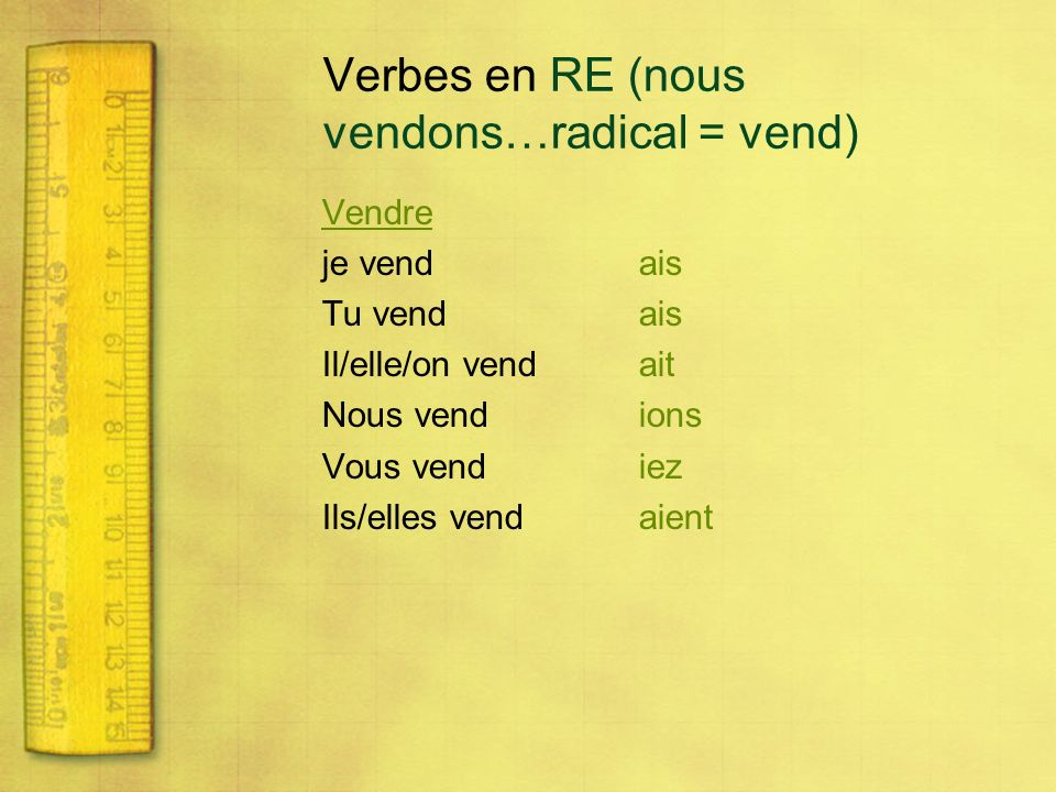 Verbes en RE (nous vendons…radical = vend)
