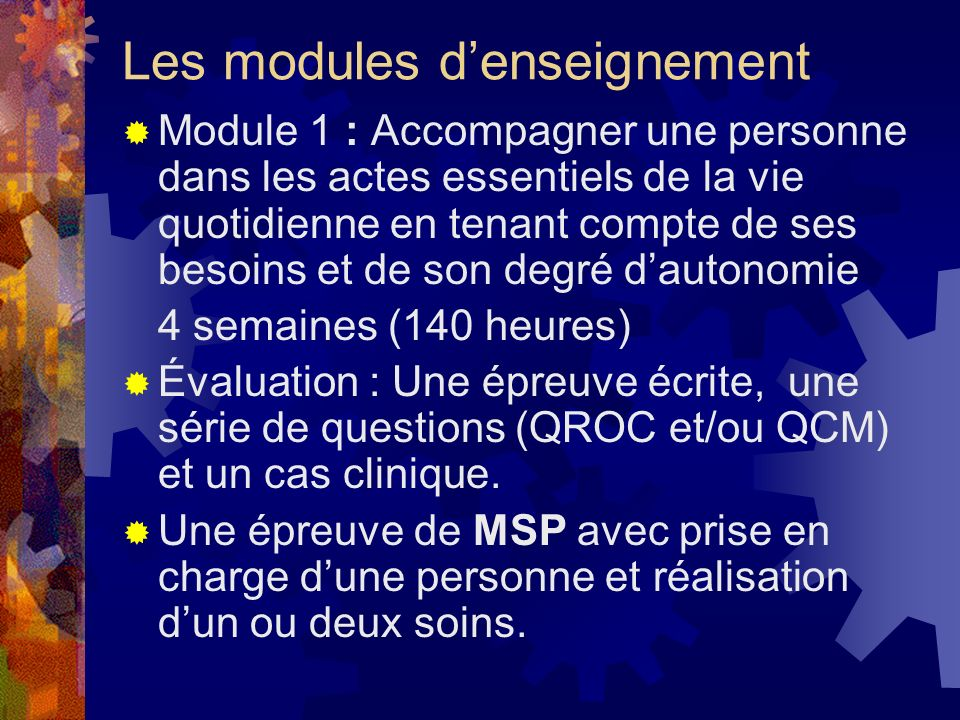 Les modules d'enseignement
